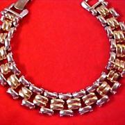 SALE Dynamic Vintage Two Tone Polished Link Bracelet