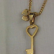 SALE Charming Key & Double Hearts Pendant & Chain Gilt Gold Necklace