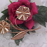 SALE ROSE GOLD Vermeil Sterling Mexico Double Floral Long Stem Brooch