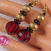 SALE Dramatic Cherry  Red Faceted Lucite Beads & Gilt Gold Bead Dangle Post Earrings