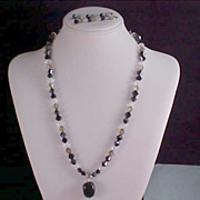 SALE Dramatic Genuine BICONE  CRYSTAL & Art Glass Necklace & Lever Back Earrings