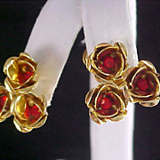 SALE Stunning TRIO Of RUBY RHINESTONE Crafted  Gold Plate Clip Earrings