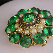 SALE BLING  -  Emerald Paste Rhinestones &  Simulated Seed Pearl Gold Plate Brooch