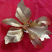 SALE Dynamic Dimensional Gilt Gold ORCHID Brooch