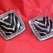 SALE Retro Pewter & Black Enamel Circa 1950 CLIP EARRINGS