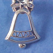SALE AVON CHRISTMAS BELL - Silver Rhodium Plate Brooch/Pin