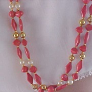SALE Simulated Coral-Pearl & Gilt Gold Double Strand  Necklace