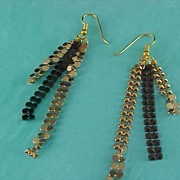 SALE Articulated Black-Silver & Gold Mesh Dangle Earrings