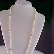 SALE Signed Simulated Pearl & Gilt Gold Bead Sautoir Necklace