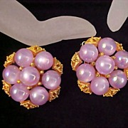 SALE Exotic LAVENDER MOONGLOW  Gilt Gold Filigree Clip Earrings