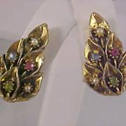 SALE Pastel Rhinestones & Simulated Seed Pearl Gilt Gold Clip Earrings