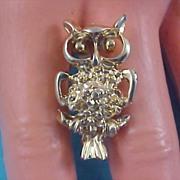 SALE Mid Century Precious Gilt Gold Nugget OWL Brooch