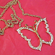 "SALE Designer Signed ""GOLD CROWN"" Gilt Gold BUTTERFLY Pendant & Chain"