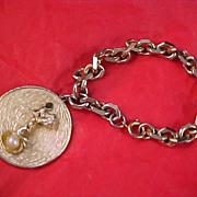 SALE MID CENTURY Gold Plate CHARM  Bracelet -  Cupid & Simulated Pearl Charm