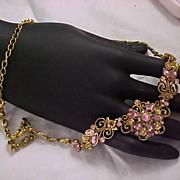 SALE ~LAVISH  Victorian Style - AVON Pink & Lavender  Rhinestone Ornate Necklace