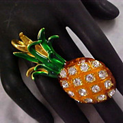 SOLD Mid Century Gold & Green Enamel Diamante PINEAPPLE  Brooch/Pendant