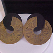 SALE Ornate Brass Circles & Ebony Lucite Post Earrings