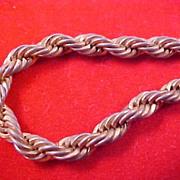 SALE Vintage Korea Gilt Gold Braided  Heavy CHAIN BRACELET