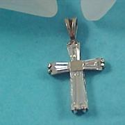 SALE Sterling Silver CROSS & Cubic Zirconia KEYSTONES Pendant