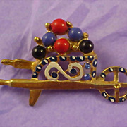 SALE Lovely Flower Cart Laden with Colorful Glass Cabochons Brooch