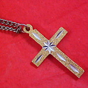 SALE CHARMING Gilt Gold & Silver Etched Cross and Chain