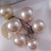 SALE Silver Plate  Simulated Pearls ~ Grape  Cluster Grapes Brooch/Pin