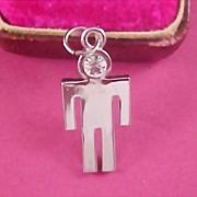 SALE Silver Plate - Cubic Zirconia Stick Man Charm