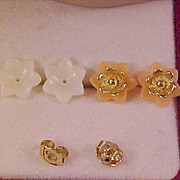 SALE 1950's Coral & Ivory Colored Celluloid ~ 3 pairs in one Post Earrings
