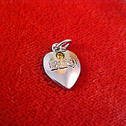 SALE 5 Beta Sigma Phi Sorority Heart~Genuine Amber Stone~ & Stars 4 Silver Plate Charms - Add