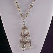 SALE QUEENS Special~1930's Aurora Heavy Crystal Necklace with Drape  Tassel Crystals