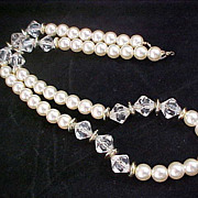 SALE 1950's Simulated Pearls & Lucite Facet Crystal Necklace