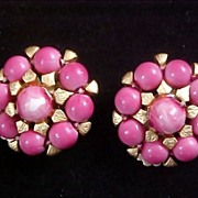 SALE Phenomenal Rose Pink Glass Hand Wired Clip Earrings-Circa 1950
