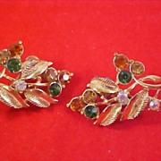 SALE Vintage Trademarked CORO -  Rhinestone & Aurora Borealis Clip Earrings