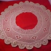 SALE Hand Crocheted ORNATE ROSES Ecru Collar