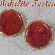 SALE BAKELITE RUSSET RED Swirled~End of Day~ (Tested Positive) Clip Earrings