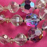 REDUCED $50.00~Genuine Rainbow Lead Crystal Three Strand Necklace