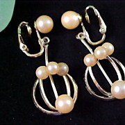 SALE Exquisite Cultured Creamy Pearl Dangle Earrings