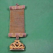 SALE Rose & Yellow Gold Fill Edwardian Mesh Watch Chain & FOB