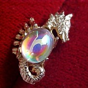 SALE $10 Sale Gilt Gold Seahorse ~ Simulated Opal Jelly Cabochon Brooch