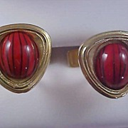 SALE 1950's Glass TIGER STRIPE Cabochon Gilt Gold Cuff Links