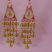 SALE Hand Crafted Swarovski Crystal PERIDOT Bicone Chandelier Long Dangle Earrings