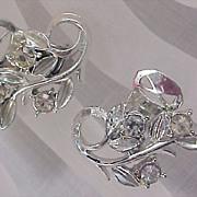 SALE CHARMING - Silver Rhodium Plate Rhinestone Clip Earrings