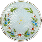Antique Meyle and Mayer 935 Silver and Enamel Daisies Brooch Pin