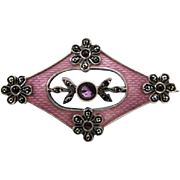 Antique Belle Epoque Sterling Enamel Brooch with Amethyst and Marcasites