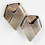 Vintage Sterling Silver Modernist Disco Earrings Studio