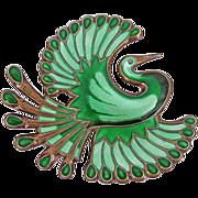 Vintage Sterling Enamel Norway David-Andersen Bird of Paradise Brooch Green