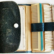 Antique 935 Ladies Comb Set Silver Guilloche Enamel Grooming Travel Set Leather Case