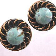 Vintage Copper Clip Earrings with Turquoise Blue Art Glass