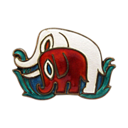 Vintage David-Andersen Elephants Brooch Pin Sterling Enamel Norway