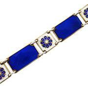 Vintage David-Andersen Sterling Enamel Bracelet Cobalt Blue and White Norway